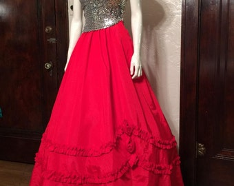 Super Glam Vintage 1980's Red Prom Dress with TONS of Silver Sequins and Full Skirt, by Alfred Angelo: SEQUINS! Gown