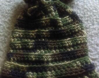 Camouflage drawstring ribbed hat