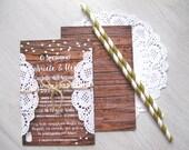 Wood Wedding Invitation with paper lace - Partecipazione Invito Matrimonio Effetto Legno con Centrino di carta pizzo