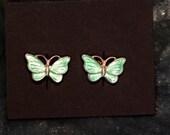 J7 Vintage miniature aqua cloisonne' butterfly earrings