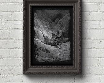 Paradise Lost 2 - Gustave Dore Print, Wall Art, Dante, Art, Woodcut, Engraving, Renaissance, Dore, Inferno, Paradise Lost, Cute Gift