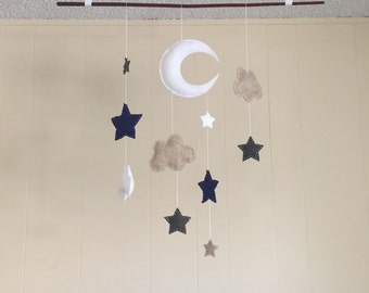 Felt moon stars clouds baby mobile for nursery