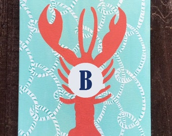 Lobster Painting- initial or monogram added