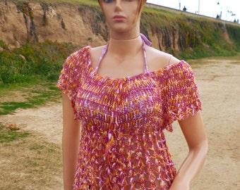 Crochet blouse handmade summer blouse crochet shirt light blouse printed blouse