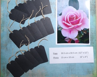 Labels/tags - black/black - gaps/punched - string/cord - journaling/titles - lot of 15/set of 15 pieces