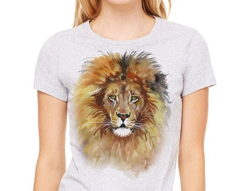 Lion T-shirt, Lion tee, Lion shirt. Colorful watercolor image of lion printed on a heather gray t-shirt, women's t-shirt, gray tee
