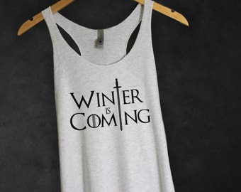 Winter is Coming Game of Thrones Tank Top in Heather White-Shirt-GOT Tee-House Stark Shirt-TV show series-Cup of tee
