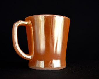 Fire King Oven Ware PEACH LUSTER-Laurel by Anchor Hocking milk glass coffee mug