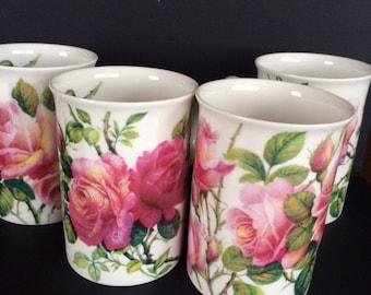 Roy Kirkham English Rose Mugs-Set of 4
