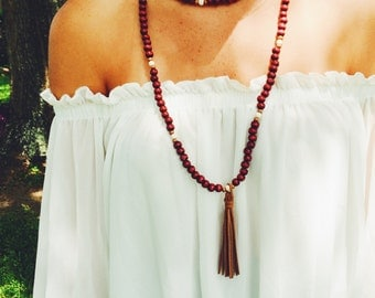 The Peyton-- Beaded Wrap Necklace With Tassel Accent