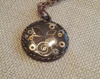 Dark Brown Steampunk Pendant Necklace