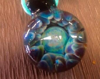 Implosion Blown Glass Pendant