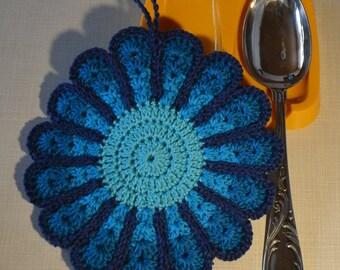 Colorful Flower Crocheted Pot Holder/ Hot Pad *Ellie*