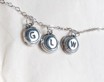 Typewriter Initial Charm in Fine Sterling Silver. Personalized Wax Seal Necklace Monogram - Custom Letter of Your Choice