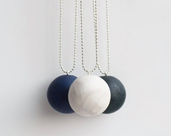 Modern Pendant necklace, Minimalist necklace, Polymer clay necklace, Beaded Ball necklace, Long pendant necklace, Minimal jewelry geometric
