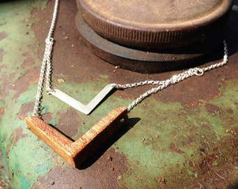 Necklace made from wood and silver