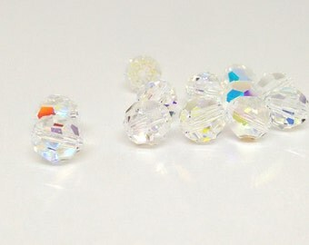 8mm Faceted Round Bead, Crystal AB, Swarovski Crystal Bead, Loose Beads, Beading Supplies, Swarovski Elements, Diy, Crystal Clear, YC0772