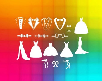 dress and tuxedo wedding party svg files for cricut, clip art Files, Silhouette Cameo, bridesmaid dress, instant download, digital files