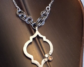 Moroccan Style Silver Pendant W/ Champagne crystal. Stainless Steel Chainmaille Rosettes & a Silver Chain