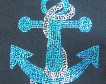 Sequins Anchor With Rope shirt