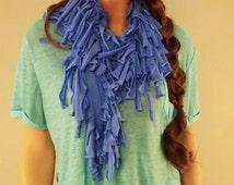 Blue Fringe Scarf, Blue Cotton Scarf,Blue Hippie Scarf, T-shirt Scarf, Ocean Blue Scarf, Bohemian Scarf, Summer Scarf, Southwestern Scarf