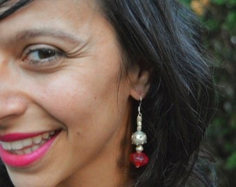 Ethiopian Brass and Red Glass Earrings