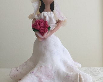 Clay Figure - Bride with Roses