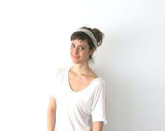 Hand Knit Braid hairband in grey, Headband & necklace womens Hair Accessory Braid Boho handknitted hairband weadding accessory gift under 15