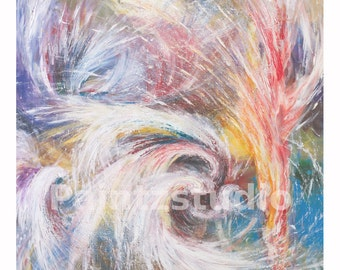 Abstract art print colour surreal print abstract with lots of colour stylized art reds blues pinks yellows painting turmoil contrast bright