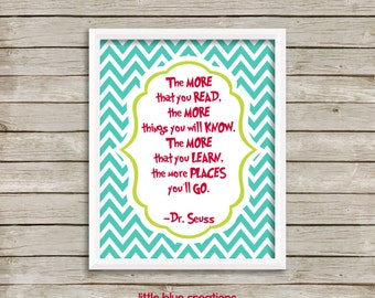 The More You Read, The More You Know - Dr Seuss Quote Print