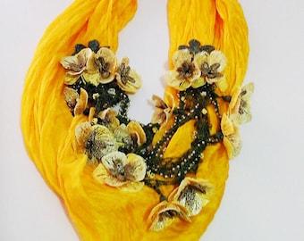 Oya Silk Scarf Turkish Oya Lace Necklace