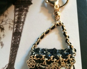 Designer Inspired Tweed Bag Charm