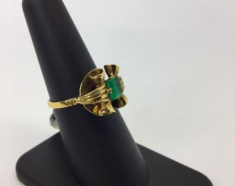 ANTIQUE RETRO Art Deco 18K Yellow gold Bow ring Colombian Emerald ring