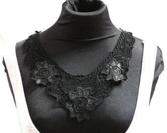 Black Embroidered Flower Collar - JR09259