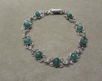 Gorgeous lace-like Aventurine STERLING silver 8-stone bracelet.