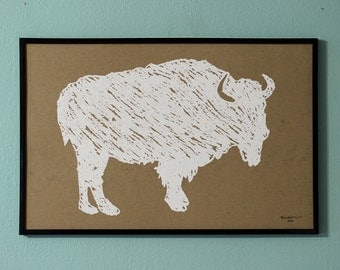 Bison / Buffalo Crayon 11x17 Poster - Hand Printed - Roam Free! - Black, White or Blue