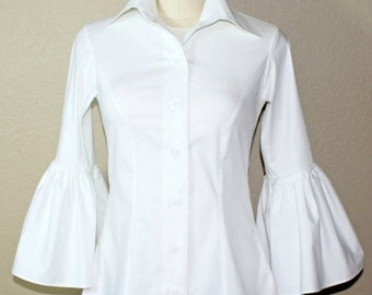 EX Long Bella Sleeve Button Down Blouse
