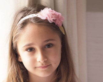 Maisey Girls Pink and Gold Polkadot Floral Baby and Girls Headband Perfect for Parties, Flower Girls, Cake Smash and Newborn Photoshoots