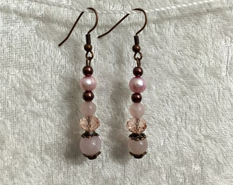 Rose quartz, pink freshwater pearl, and antique copper dangly earrings, also feat. brown glass pearls & pink glass crystal