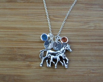 Horses Necklace, Mother Daughter Horse Pendant, Personalized Jewelry, Birthstone Necklace, Hand stamped