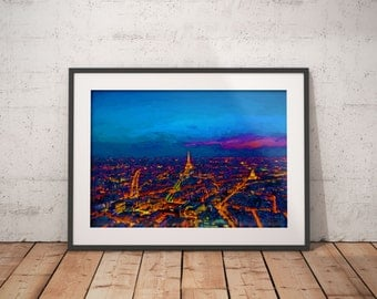 Paris At Night Painting Print, Eiffel Tower print, midnight in Paris painting, city of lights print