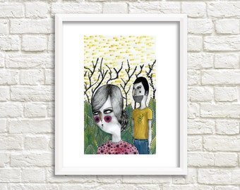Forest Couple Illustration, Art Print