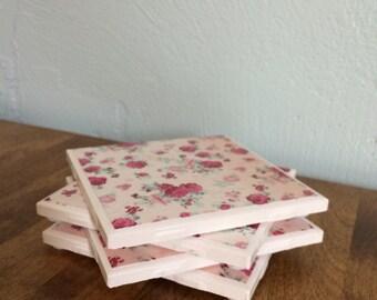 Pink floral vintage tile coaster