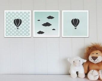 Nursery Prints Set, Nursery Wall Art, Hot Air Balloon, Clouds, Nursery Decor