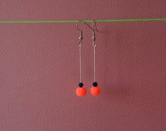 Earrings Orange Fluo