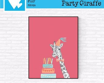 Printable Art Watercolor Party Giraffe Digital Download Décor Poster Nursery