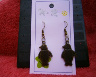 Bronze penguin earrings