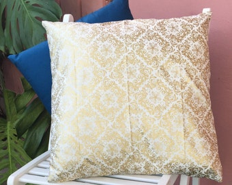 """Hand Made-Decorative Throw Pillow-Cushion Cover-Gold Pattern-16""""x 16"""""""