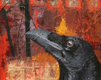 TALK Of THE DAY,  Original Crow Mixed Media Painting, Silhouette Crows