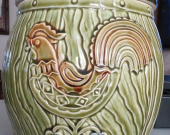 Vintage Green Cookie Jar with Rooster